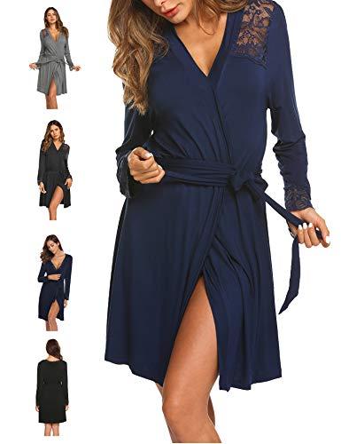 Morgenmantel Bademantel Damen Kurz Nachtwäsche Sexy Robe Pyjama Reisemantel mit Spitzen V Ausschnitt für Schwangere Mollige