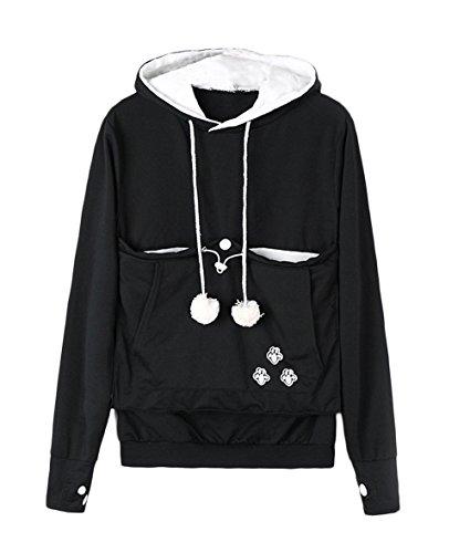 Felpa donna pullover con cappuccio sweatshirt taglie forti domestici manica lunga sciolto con tasca porta gatti cani e animali hoody moda felpe casual