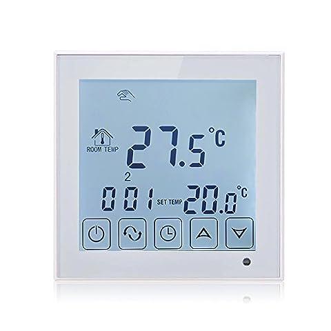 BEOK tds23-ep Raumthermostat Thermostat programmierbar Touchscreen Temperatur Controller mit langem extern Sensor für elektrische Fußbodenheizung, 200V bis 240V, 16A, weiß, 240.00 voltsV
