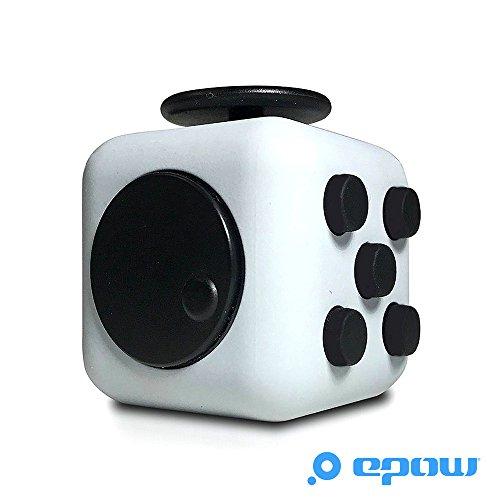 EPOW Fidget Cube Blanc Noir [Version 2018 - Marque Française - Garantie 1an], Mini Cube Jouet Adulte Fidget Toy Dé Anti Stress & Anx