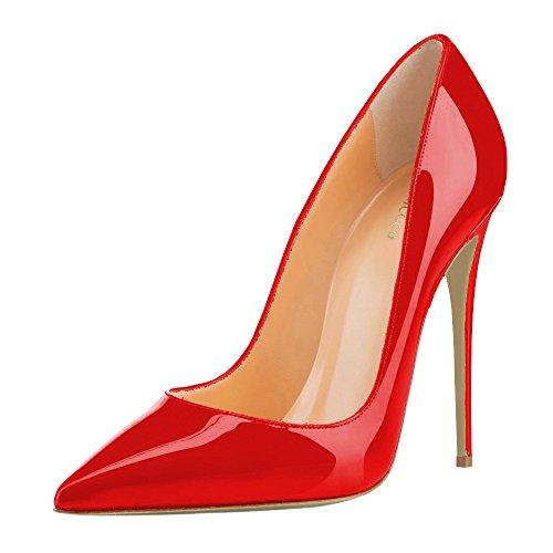 MONICOCO Übergröße Damenschuhe Spitze Zehen Stiletto Pumps für Party Hochzeit A-Rot Lackleder