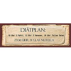 """""""Diätplan - Nutella"""" - Geschenkedeko Türschild-hochglänzend und kratzfest glänzend Vintage Schild Dekoschild Wandschild Holzschild Geschenk"""