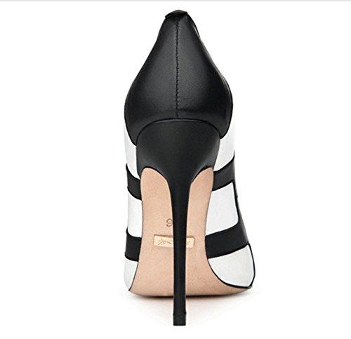 Lady a fait noir et blancs couleurs mélangées dans les chaussures de printemps et d'été/Fine avec des talons peu profondes A
