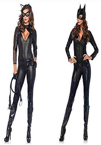 Z-SANMAO Lack Leder Latex Damen Sexy Black Catwomen Hängender Hals Overall Kostüm PVC Latex Body Sexy Leder Wicked Kitty Damen ()