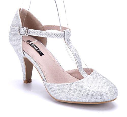 Schuhtempel24 Damen Schuhe Spangenpumps Pumps Silber Trichterabsatz Glitzer 7 cm