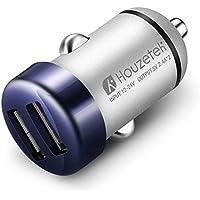 Caricatore da Auto, Houzetek Caricabatterie per Auto USB Doppio USB, Perfetto per iphone ipad Tablet Ecc, Ultra Piccolo da Portare, Intelligente Spegnimento Automatico, 12V/24V, Blu.