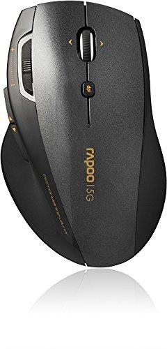 Rapoo 7800P kabellose Laser Maus (5 GHz Wireless, 1600 DPI umschaltbar, 6 Tasten, 4D Mausrad, Nano-USB für PC, Laptop, iMac, Macbook, Microsoft) schwarz