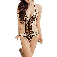 Mujer Salto de Cama Encaje Pijama Camisón Lencería Correa Seda Body QinMM ropa interior erótica con tanga (D)