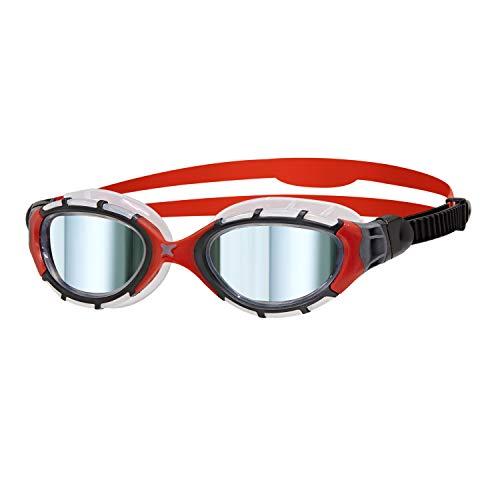 Zoggs Predator Flex Titanium Mirror, Occhialini da Nuoto Unisex-Adulto, Nero/Rosso/Specchio, Standard