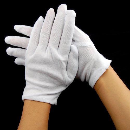 Accessotech 12 Paar 100% Baumwolle Handschuhe Generelle Verwendungszwecke Feuchtigkeitsfutter Weiß (Baumwoll-handschuh)