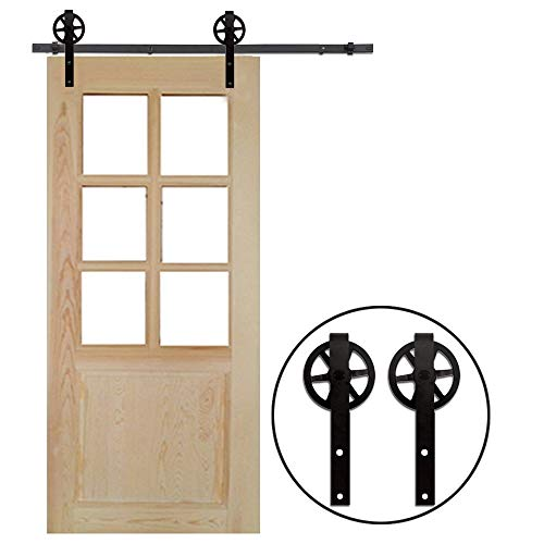 7FT/213cm Schiebe Tür-Hardware-Track-Kit Einzeltür Holztür - Sliding Barn Wood Door Hardware Roller Track Kit For Single Door Big Spoke Wheel Roller Hanger - Schiebe-tür Tür-hardware Und