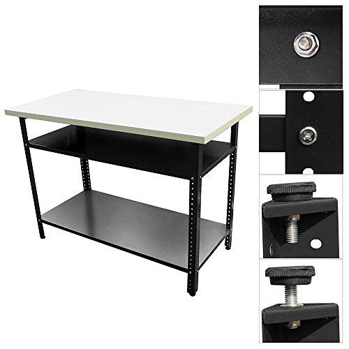 Melko Werkbank Werktisch Arbeitstisch Packtisch für Hobby- und Profiwerkstätten, höhenverstellbar, 120 x 60 x 85 cm, Anthrazit -