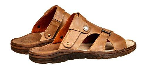 Herren Bequeme Sandalen Schuhe Mit Der Orthopadischen Einlage Aus Echtem Buffelleder Hausschuhe Modell 866 Dunkel Beige
