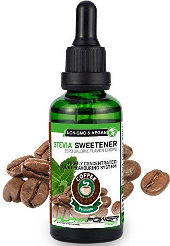 ALPHAPOWER FOOD® Stevia Flavour Drops, flüssig - liquid 1x50ml Aroma Kaffee - Coffee, Lebensmittel flavor Konzentrat & Geschmackstropfen - Flave Tropfen ohne Zucker, Flavdrops zum Essen & Backen