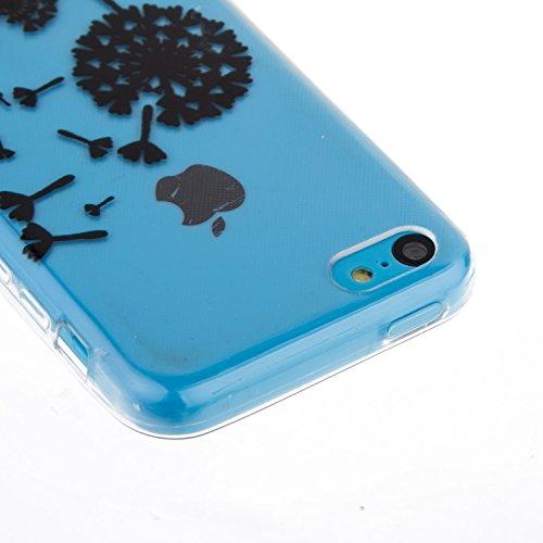 iPhone 5C Hülle,iPhone 5C Case,iPhone 5C Cover,ikasus® TPU Silikon Schutzhülle Case Hülle für iPhone 5C,Durchsichtig mit Schwarz Gemalte Muster Handyhülle iPhone 5C Silikon Hülle [Kristallklar Durchsi Schwarz Löwenzahn