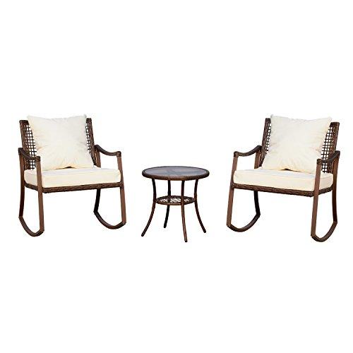 Ensemble de jardin 3 pièces style cosy 2 fauteuils à bascule avec coussins assise dossier + table basse résine tressée brun crème 30