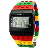 v_esafe Unisex Jungen mädchen LED Regenbogen elektronische sportuhren multifunktionale silikonband armbanduhren Student Geschenk (C)