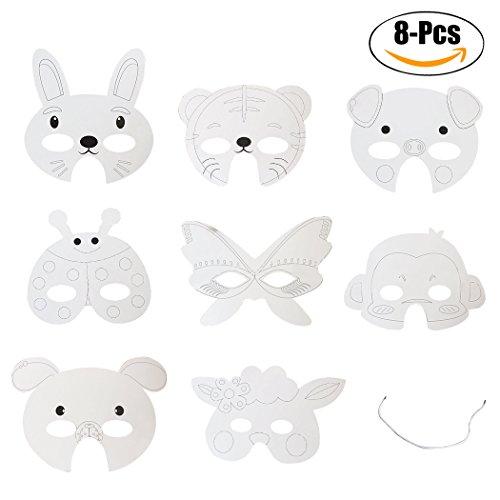 er Papier Maske Party Maske Kreative Cartoon Tiere DIY Blank Malerei Weiße Maske Kostüm Maske (Leere Tier Masken)