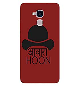 For Huawei Honor 5c :: Huawei Honor 7 Lite :: Huawei Honor 5c GT3 awara hoon, good qoutes, red background Designer Printed High Quality Smooth Matte Protective Mobile Case Back Pouch Cover by APEX