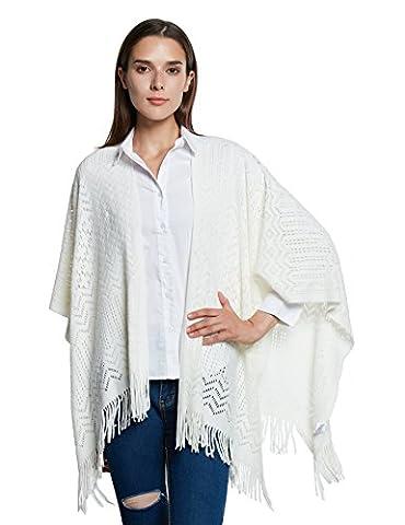 Femmes Tricoter Chale,Kimono Cardigan Cape Wrap Couvrez-vous Pashmina Echarpe(Taille unique,Gris)