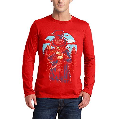 garm T-Shirt Mad Hatter Horror Night Moon Dark Rabbit Hat Death Evil Skull Bats Hell Saw Killer Vintage Classic(X-Large,Red) ()