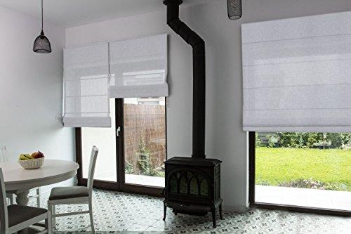 Raffrollo nach Maß, hochqualitative Wertarbeit, alle Größen verfügbar, für Fenster und Türen, Klemmfix ohne Bohren, Maßanfertigung (Muster/Light Grey)