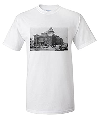 Eugene, Oregon Scene with City Hall Photograph (Premium T-Shirt)