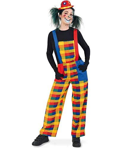 KarnevalsTeufel Herren-/Damenkostüm Clown Pebbi Latzhose bunt fröhlich Karneval, Mottoparty (XXX-Large)