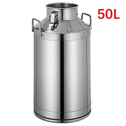 InLoveArts 304 Edelstahl Milchkanne 50 Liter Milcheimer Weineimer Eimer 13,25 Gallonen Milchkanne Henkelkanne mit Siegeldeckel Heavy Duty