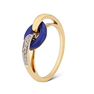 Mia by Tanishq 14KT yellow gold, Diamond and Lapis Lazuli Ring for Women
