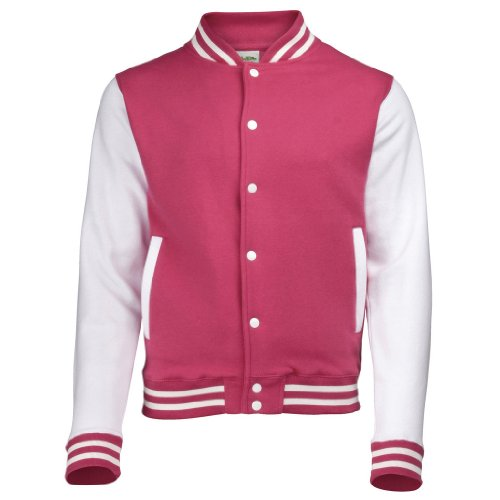 AWDis Just hottes Men's Elle possede Letterman Varsity Veste de baseball - Hot Pink / White