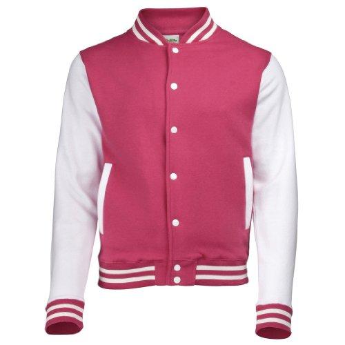 AWDis Just Hoods Damen Collegejacke Collegejacke / Baseballjacke - Hot Pink / White
