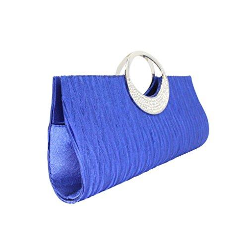 Envelope Clutch, Huhu833 Frauen Elegante Abend Hochzeit Geldbörse Clutch Strass Satin Plissee Handtasche Blau