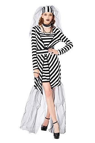 Hut Kostüm Gefangener - FKLMRKL Gefängnis Braut Cosplay kostüm, Halloween gefangener kostüm, Cosplay Maskerade kostüm (dünnes Kleid + Hut + Hals + Kette),S