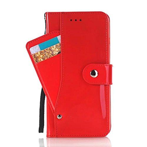Housse IPhone 7 Plus, Couleur Solide Surface Lumineuse Modèle Portefeuille Stand Case Avec Dragonne Pour Apple IPhone 7 Plus ( Color : White , Size : Iphone7 Plus ) Red