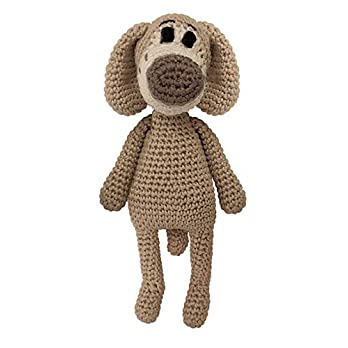 LOOP BABY – Gehäkelter Hund Hansi in braun – Nachhaltiges Bio-Kuscheltier aus Baumwolle – Stofftier als Geschenk für Mädchen & Junge – Montessori Spielzeug als Baby Erstausstattung
