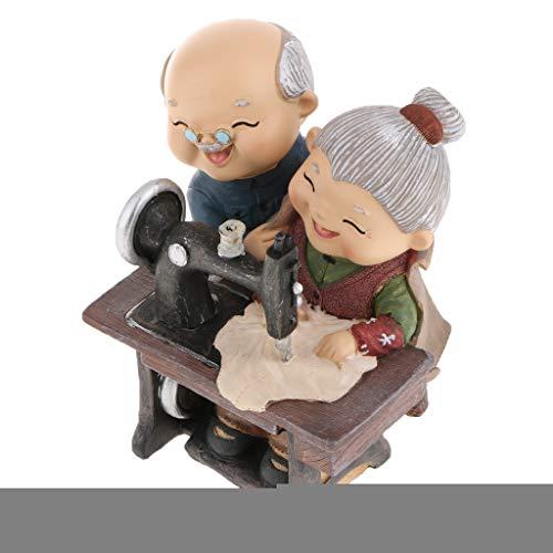 Homyl Chinesische Alter Mann und Frau Ehepaar Figur Skulptur Deko Figuren, mehrerer Lebensszene - 07 Nähen -