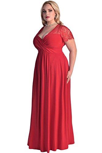 Damen Spitze Yoke Ruched Verdrehte mit hoher Taille Kurzen Ärmel plus Größen Kleid Rot