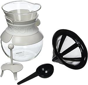BODUM POUR OVER Coffee Maker (Permanent Filter, Dishwasher Safe, 1.0 L/34 oz) - Red