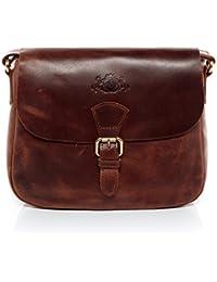 SID & VAIN Schultertasche Leder Yale klein Handtasche Schultergurt Damen Umhängetasche echte Ledertasche Damentasche