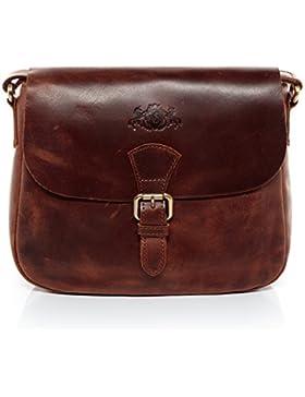 SID & VAIN® Schultertasche YALE - Damen Umhängetasche klein Ledertasche - Handtasche im Vintage-Look Damentasche...