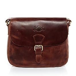 SID & VAIN® borsa a spalla vera pelle vintage YALE piccolo sacchetto tracolla donna cuoio