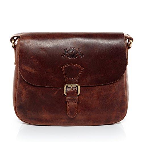 SID & VAIN® Schultertasche YALE - Damen Umhängetasche klein Ledertasche - Handtasche im Vintage-Look Damentasche echt Natur-Leder braun-cognac (Kleine Schulter-handtasche)