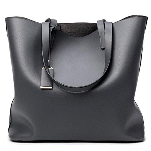 Fashion Wilde Große Kapazität Damen Umhängetasche Handtasche,Grey (Canvas Baguette)