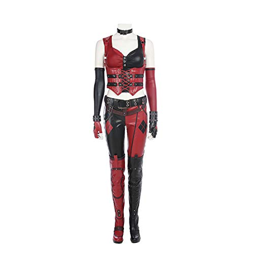 Benutzerdefinierte Für Partys Kostüm - QWEASZER Batman Harley Quinn Kostüm Damen Kostüm Body Sling Weste, Hosen, Stiefel, Handschuhe, Armbänder, Umhängeband, Gürtel Halloween Movie Game Cosplay Party Kostüm,Clown-L