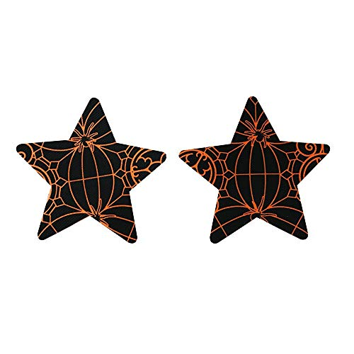 (sunnymi 5 Paar Halloween Nippel Abdeckung Pad Frauen Breathable Spider Web Paste BH (A))