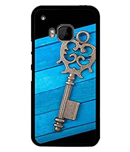 FIOBS Key In Blue Wooden Pattern Designer Back Case Cover for HTC ONE M9