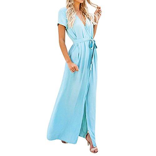 YWLINK Damen Tiefer V Ausschnitt Wickelkleid Hoch Geschnitten Elegant Kurze ÄRmel Maxi Damenparty Abend Freizeit Volltonfarbe Kimono Kled(M,Blau)