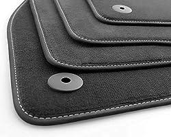kh Teile Fußmatten Corsa E Original Premium Qualität Velours Autoteppich 4-teilig schwarz, Weiße Ziernaht Nubuk