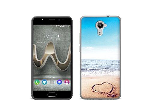 etuo Handyhülle für Wiko Ufeel Prime - Hülle Foto Case - Herz auf Sand - Handyhülle Schutzhülle Etui Case Cover Tasche für Handy